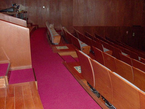 Photography of the reserved seats for people in wheelchairs in the main auditorium of the Campo Alegre Theatre